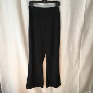 Black wide leg trousers with side zip closure